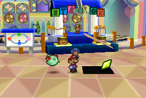 Mario finding a Star Piece in front of the blue station in Shy Guy's Toy Box in Paper Mario