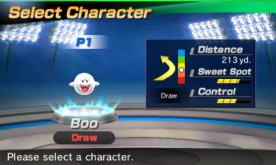 Boo's stats in the golf portion of Mario Sports Superstars
