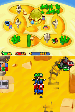 Mario and Luigi Spin Jumping in the Gritzy Desert