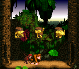 The second bonus room in Jungle Hijinxs from Donkey Kong Country