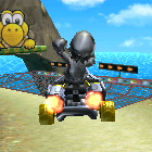 Metal Mario performing a trick.