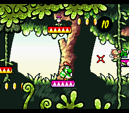 Yoshi about to throw an egg at an Ukiki in More Monkey Madness.