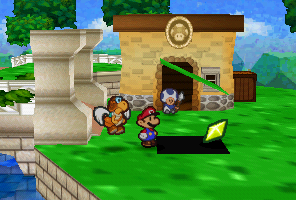 Mario finding a Star Piece  under a hidden panel in front of Fice T.'s guarding room in Paper Mario