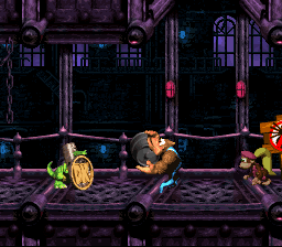 Donkey Kong Country 3: Dixie Kong's Double Trouble!: Kiddy Kong holding a Steel Barrel at the Koin of Krack-Shot Kroc