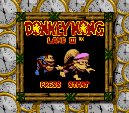 The title screen of Donkey Kong Land III