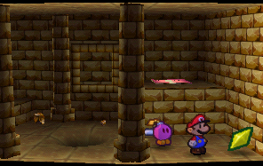Mario finding a Star Piece in Dry Dry Ruins in Paper Mario