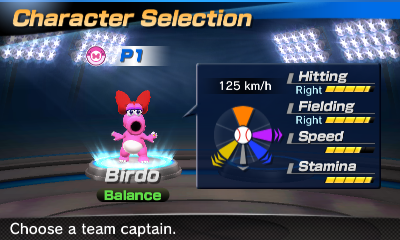 Birdo's stats in the baseball portion of Mario Sports Superstars