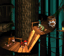 Donkey and Diddy Kong approaching a Gnawty in Tree Top Town