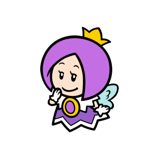 Thinking purple Sprixie Princess stamp from Super Mario 3D World + Bowser's Fury.