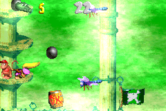 Dixie Kong throws a kannonball at a Flitter in the second Bonus Level of Slime Climb in the Game Boy Advance version