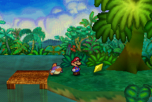 Mario finding a Star Piece on an island in Jade Jungle in Paper Mario