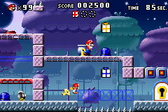 A portion of Level 5-3+ from the game Mario vs. Donkey Kong.