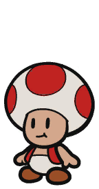 Red Chosen Toad sprite from Paper Mario: Color Splash.
