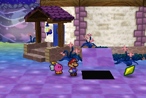Mario finding a Star Piece under a hidden panel near the house in Shooting Star Summit in Paper Mario