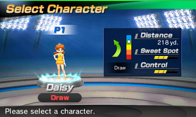 Princess Daisy's stats in the golf portion of Mario Sports Superstars
