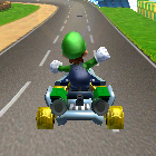 Luigi performing a trick.