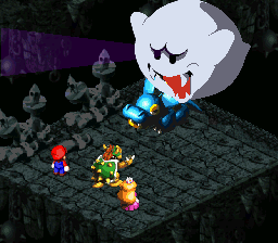 Bowser using the move Terrorize on a Hippopo.