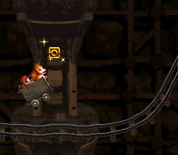 The O in Mine Cart Carnage from Donkey Kong Country