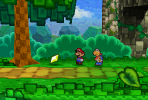 Mario finding a Star Piece in the tree at the end of Pleasant Path in Paper Mario