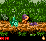 Dixie Kong holding a Steel Barrel at Koin in Tropical Tightropes from Donkey Kong GB: Dinky Kong & Dixie Kong