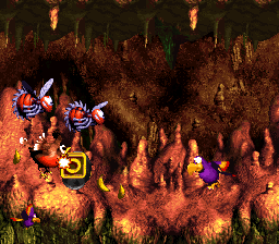 The O in Buzzer Barrage from Donkey Kong Country 3: Dixie Kong's Double Trouble!