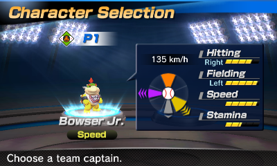 Bowser Jr.'s stats in the baseball portion of Mario Sports Superstars