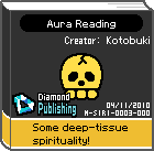 The shelf sprite of one of Mona's favorite artist comics: Aura Reading in the game WarioWare: D.I.Y..