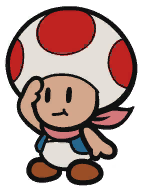 A Toad from Paper Mario: Color Splash.