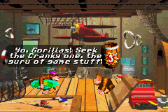 The interior of Funky's Fishing in Donkey Kong Country for the Game Boy Advance.