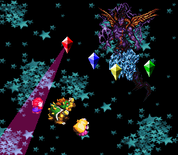 The Fire Crystal using the attack, Mega Drain, on Mario during the battle with Culex.