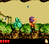 Dixie Kong holding a Steel Barrel at the Koin of Clifftop Critters in Donkey Kong GB: Dinky Kong & Dixie Kong
