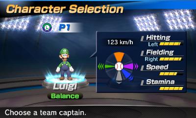 Luigi's stats in the baseball portion of Mario Sports Superstars