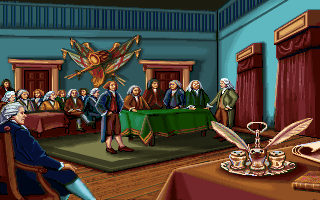 Thomas Jefferson at Independence Hall in the PC release of Mario's Time Machine