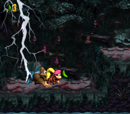 The first Bonus Area of Lightning Lookout in Donkey Kong Country 3: Dixie Kong's Double Trouble!
