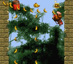 The K in the first Bonus Level of Millstone Mayhem from Donkey Kong Country