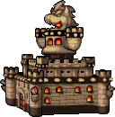 Bowser's Castle: Sprite of the whole castle during battle mode position. From Mario & Luigi: Bowser's Inside Story