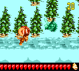 Dixie Kong in the first Bonus Level of Tundra Blunda in Donkey Kong GB: Dinky Kong & Dixie Kong