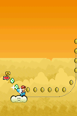 Yoshi collecting coins while riding on a cloud in the level In the Clouds.