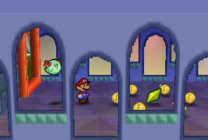 Mario finding a Star Piece under a platform in Shy Guy's Toy Box in Paper Mario