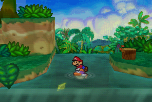 Mario finding a Star Piece under the water in Jade Jungle  in Paper Mario