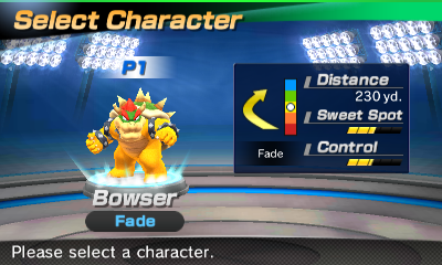 Bowser's stats in the golf portion of Mario Sports Superstars