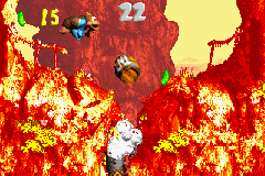 Dixie Kong and Kiddy Kong in the first Bonus Area of Criss Kross Cliffs.