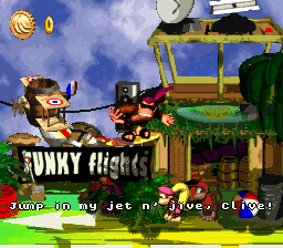 Funky's Flights II in Donkey Kong Country 2: Diddy's Kong Quest