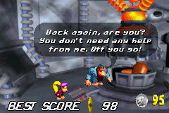 Swanky Kong talking to Dixie in Swanky's Dash if she revisits after completing the challenge.