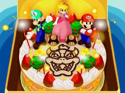 The cake Princess Peach sends Bowser at the end of Mario & Luigi: Bowser's Inside Story.