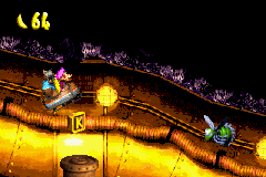 The location of the letter K in Surf's Up in the European and Japanese versions of Donkey Kong Country 3 on Game Boy Advance. In the North American version, a banana appears above the Buzz