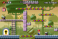 Part 1 of Level 5-1 from the game Mario vs. Donkey Kong.