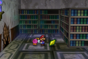 Mario finding a Star Piece un a chest in the library of Boo's Mansion in Paper Mario