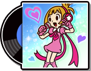 The record cases for the English (blue/cyan) and Japanese (orange/pink) versions of Mona Pizza in WarioWare Gold