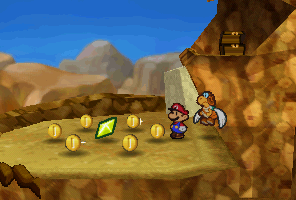 Mario finding a Star Piece  in the northwestern area in Mt. Rugged in Paper Mario